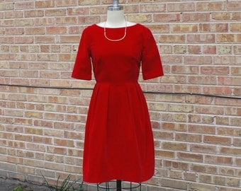 Vintage 60s Red Velour Dress - Elegant A-Line Party Dress, Short Sleeve - XS