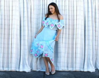 Vintage 70s Off-Shoulder Dress - Light Blue Mexican Folk Dress, Summer Party - SM