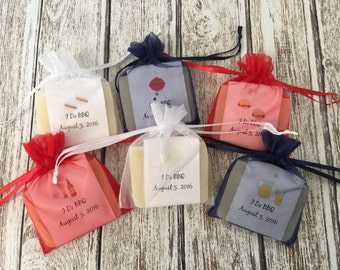 I Do BBQ or Baby Q Theme Soap Favors For Shower With Organza Bags 100% Natural Cold Processed
