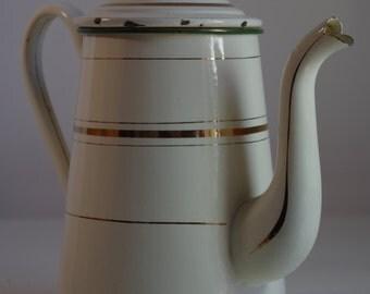 Vintage Cream Gold Enameled Tea Coffee Pot Enamelware