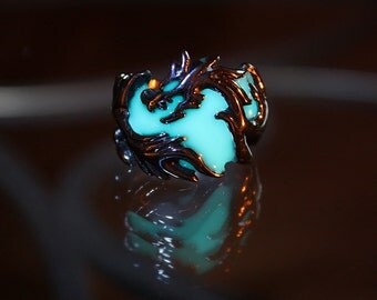 DRAGON Band ring Stainless Steel GLOW in the DARK