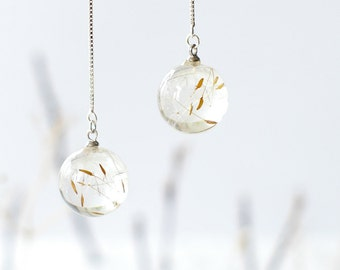 Real dandelion earrings - crystal resin ball white grey winter gift - Real Dandelion Seeds Jewelry