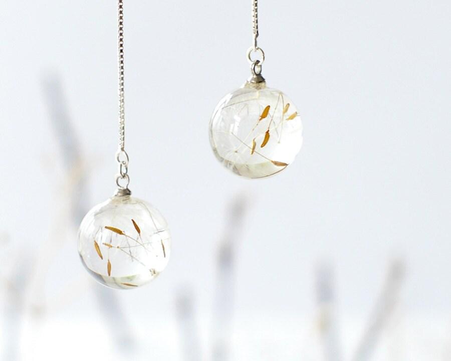 real dandelion earrings resin white by uralnature