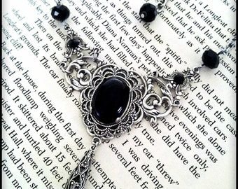 Victorian Gothic Black Necklace Crystal Filigree Necklace Black Onyx Necklace Victorian Gothic Jewelry