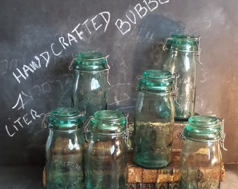 Jars. 6 Antique French Preserving Jars Containers. French kitchen storage. Heavy handcrafted green glass with bubbles containers