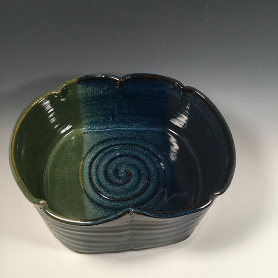 Ceramic Stoneware Baking : Large pottery casserole dish ceramic baking pan monet blue