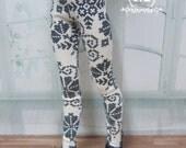 Black-White Flower leggings for U-noa ,msd bjd &minifee.