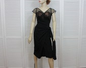 Vintage Black Cocktail/Wiggle Dress 1950s Size Small/ Medium Designer