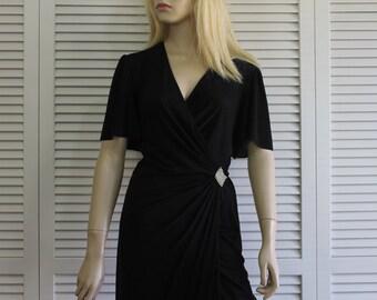 Vintage Black Wrap Dress Super Slinky Rimini Size 6 (Medium)