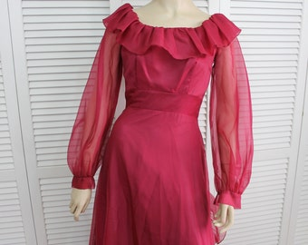 Vintage Burgundy Party Dress Long Size Small 1970s