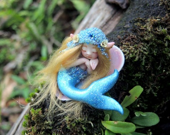 Cute & Tiny Mermaid Fairy in Shell by Celia Anne Harris OOAK - Made to Order