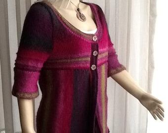 Custom Order - Shiny Rainbow - Hand KNIT Cardigan / Half Sleeve Cardigan / Multi Color Cardigan / LONG Cardigan / Crochet Edges