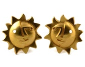 Reserved - Vintage CHRISTIAN LACROIX Sun Face Modernist Steampunk Earrings