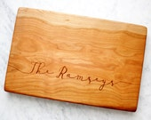 Personalized Last Name, Extra Thick Cherry Cutting board. Two-inch thick solid cherry for custom wedding gift idea.