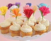 rainbow flower carnation cupcake toppers