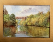 Antique Painting of a Viaduct over the Blackwater River Cornwall Signed B Corban Vintage Art Edwardian Landscape Watercolor