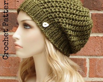CROCHET HAT PATTERN Instant Download Pdf - Briar Slouch Hat Womens Slouchy Hat Pattern - Permission to Sell English Only
