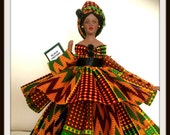 Black Art Doll Black History Month Celebration African American Kente Porcelain Doll