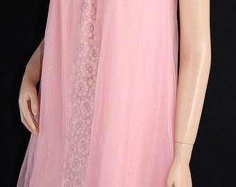60s Philmaid Night Gown / Waltz Gown / Mad Men / Pink / Pin Up Lingerie