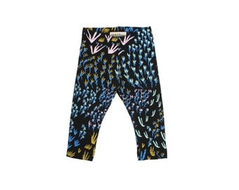 Field of Dreams Leggings in Bright Blue, Pale Pink, Ochre and Mint on Black