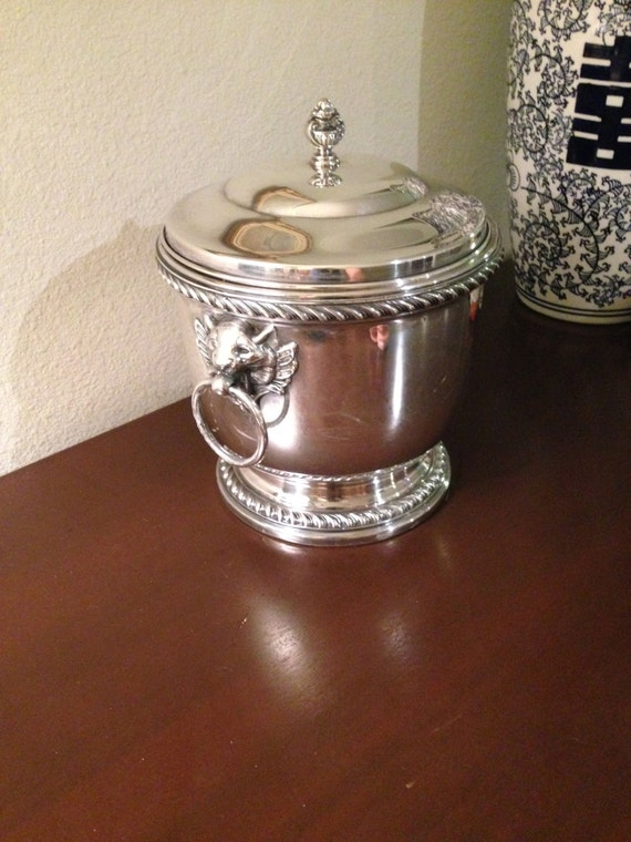 Antique Poole Silver Co Silverplate Ice Bucket Lion Head