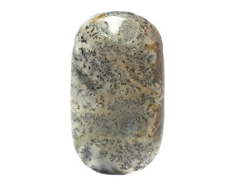 Black Dendritic Moss Agate Geo Gem, Natural Semiprecious Gemstone Cabochon, Silica Jewel Milky and Clear Agate from the gem fields of Brazil