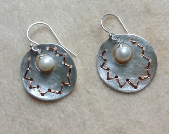 Embroidered Silver Earrings with a Fresh Water Pearl