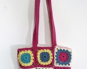 Handmade Crocheted Granny Squares Shoulder Bag Purse Cross Body