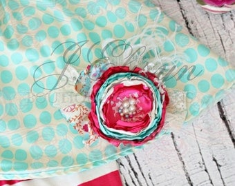 hot pink, aqua, ivory couture headband | vintage hand-made headband | mtm baby Persnickety