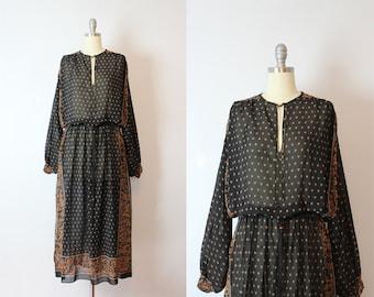 vintage 70s bohemian chiffon maxi dress / 1970s dark floral chiffon gypsy dress / dolman bishop sleeve bohemian dress /  Seven Wonders dress