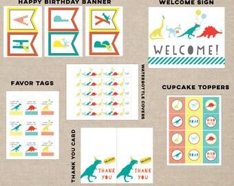 dinosaur party printable pack, dinosaur favor tags, dinosaur banner, dinosaur thank you card, dinosaur cupcake topper, dinosaur bottle cover