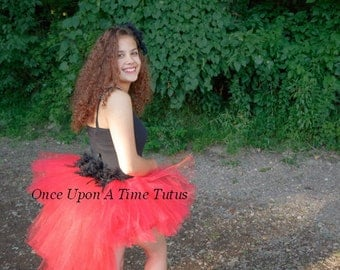 Red Black Feather Bustle Tutu Girls Sizes 0 6 9 12 18 Months 2T 3T 4T 5T 6 7 8 10 12 14 Adult Ladies Women Teen Parrot Halloween Costume
