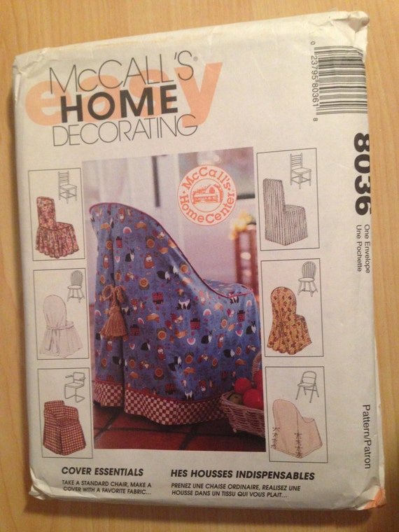 McCall's Home Decorating Sewing Pattern 8036 90s Chair Cover Essentials