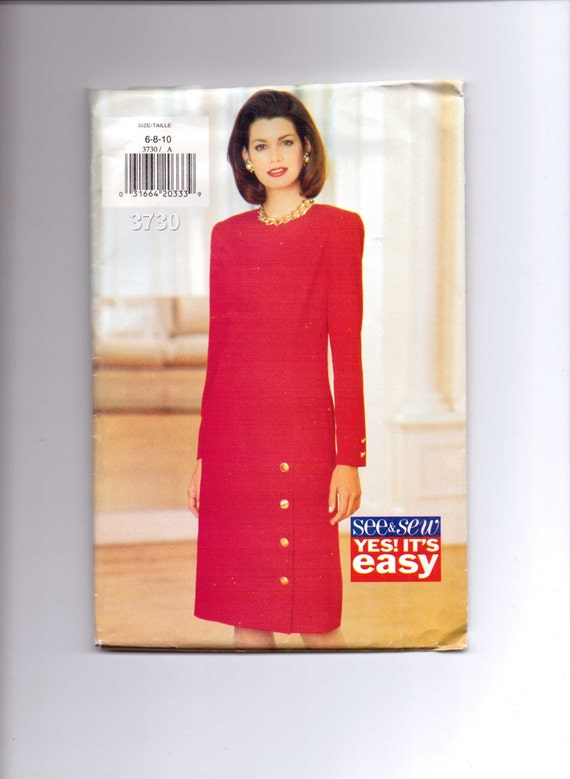 Butterick 3730 Sewing Pattern 90s UNCUT Misses and Misses Petite Dress See and Sew Size 6-10
