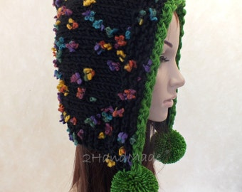 Hand Knit Adult Elf Pixie Hood Hat Super Chunky Pom Poms Black Green Merino Wool Womens Accessories Colorful Flowers Multicolor Winter