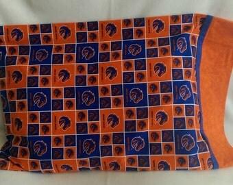 Standard Size Pillowcase - BSU - Boise State University - Blue and Orange - Bronco, Squares