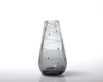 Vintage Johansfors Swedish art glass vase, 1950's, Scandinavian mid century modern, Sixten Wennerstrand / Bengt Orup, smoky grey swirl dots