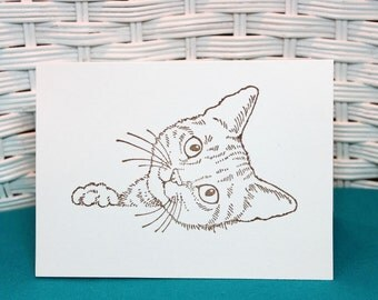 Set of 6 Hand Stamped Cat Note Cards