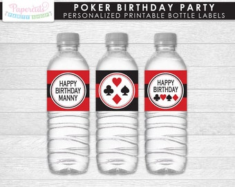 Casino Night Poker Theme Birthday Party Water Bottle Labels   Red & Black   Personalized   Printable DIY Digital File