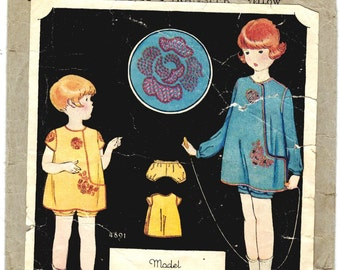 McCall 4891 Vintage 30s Gorgeous Girl's Asymmetrical Front Dress - Hidden Pocket - Kaumagraph Transfer Bloomers Pinto Gravure Sewing Pattern