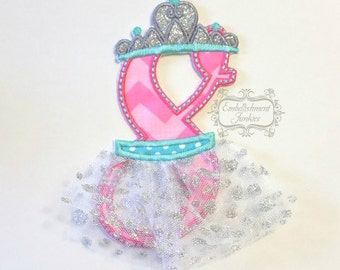 Ballerina birthday number 8 iron on applique, number eight birthday ballerina embroidered patch, pink teal ballerina eighth birthday patch