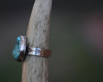 "Sleeping Beauty Turquoise Ring, Flying Arrows Ring, - ""Cowgirl Ring"""