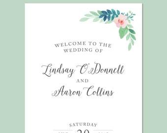 Floral Watercolor Printable Wedding Program - DIY Ceremony Program - Script, Vintage, Pink, Green