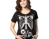 WHITE Skeleton Rib Cage BABY Maternity T-Shirt pregnant skeleton shirt, halloween shirt, expecting mom, shirts, clothes, pregnancy S-2Xl