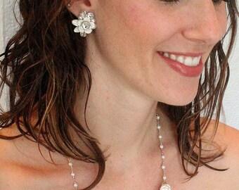 Bridal Statement Necklace- Vintage-Inspired Wedding Jewelry- Pearl Statement Necklace- Bridal Bib Necklace-Pearls and Rhinestones- Ivory Bib