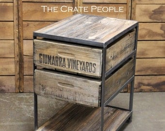 Double Crate Nightstand with bottom shelf -- Custom Made Crate Furniture -- Vintage Crates and Barn Wood