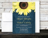 Rustic Sunflower Denim Wedding Invitations and RSVP - Yellow Blue Country Floral - Printed Invitations