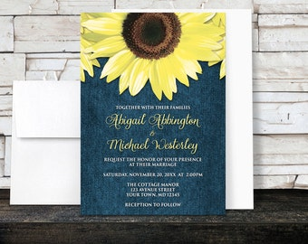 Sunflower Wedding Invitations Denim - Rustic Yellow Floral over Blue - Printed Invitations