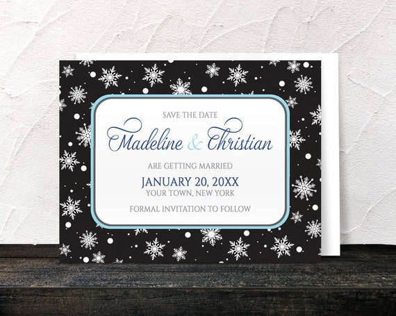 winter save the date cards midnight snowflake winter wedding save