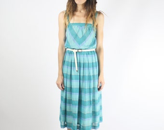70s Summer Dress, Aqua Chevron stripe Sun Dress, XS Small